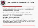 federal reserve intraday credit policy