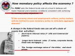 how monetary policy affects the economy