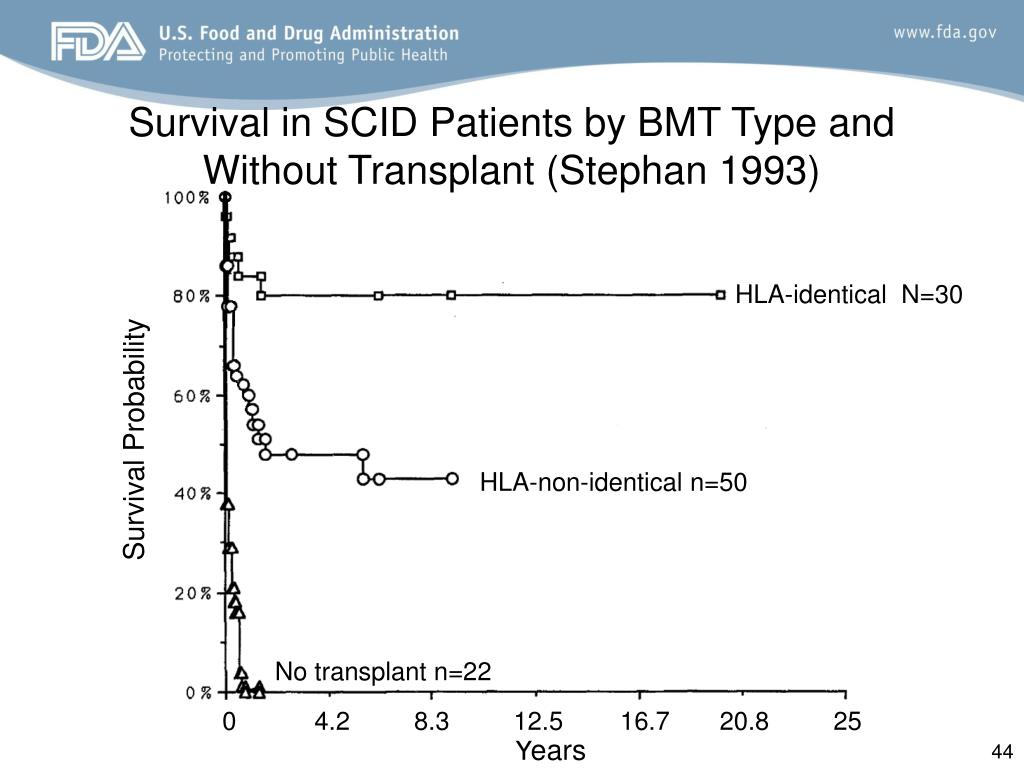 Survival in SCID Patients by BMT Type and Without Transplant (Stephan 1993)