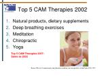 top 5 cam therapies 2002