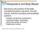 manipulative and body based