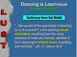 dancing is lascivious 1 john 2 15 1723