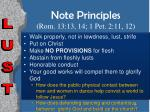 note principles rom 13 13 14 1 pet 2 11 12