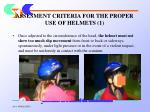 assesment criteria for the proper use of helmets 1