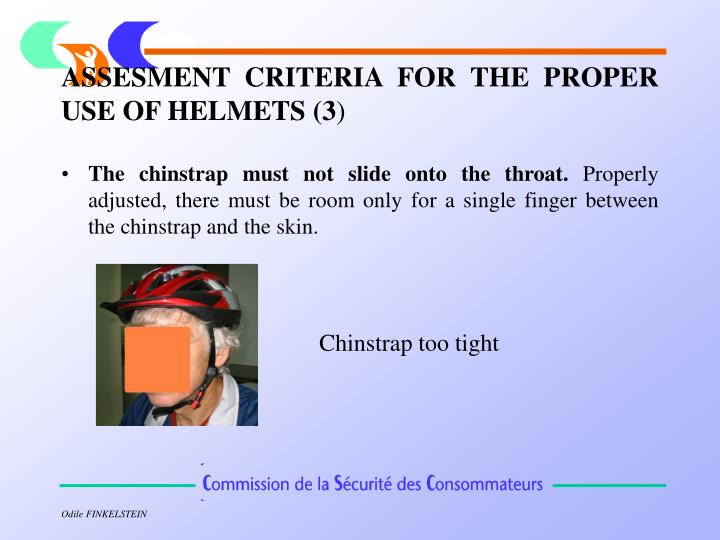 ASSESMENT CRITERIA FOR THE PROPER USE OF HELMETS