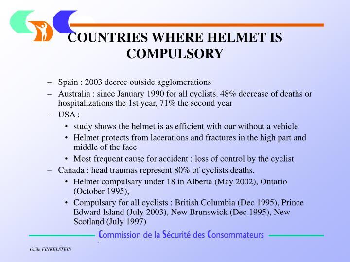 COUNTRIES WHERE HELMET IS COMPULSORY