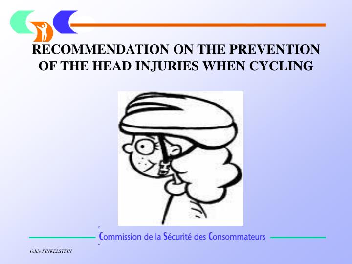 recommendation on the prevention of the head injuries when cycling n.
