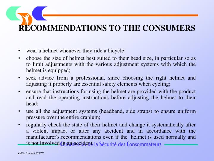 RECOMMENDATIONS TO THE CONSUMERS