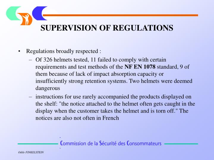 SUPERVISION OF REGULATIONS