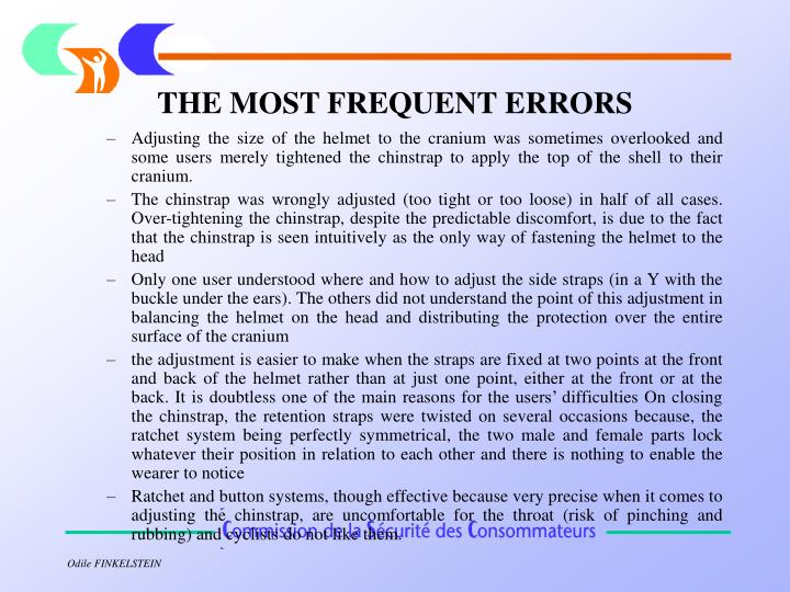 THE MOST FREQUENT ERRORS
