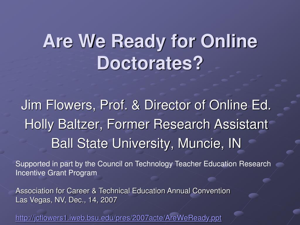 are we ready for online doctorates l.