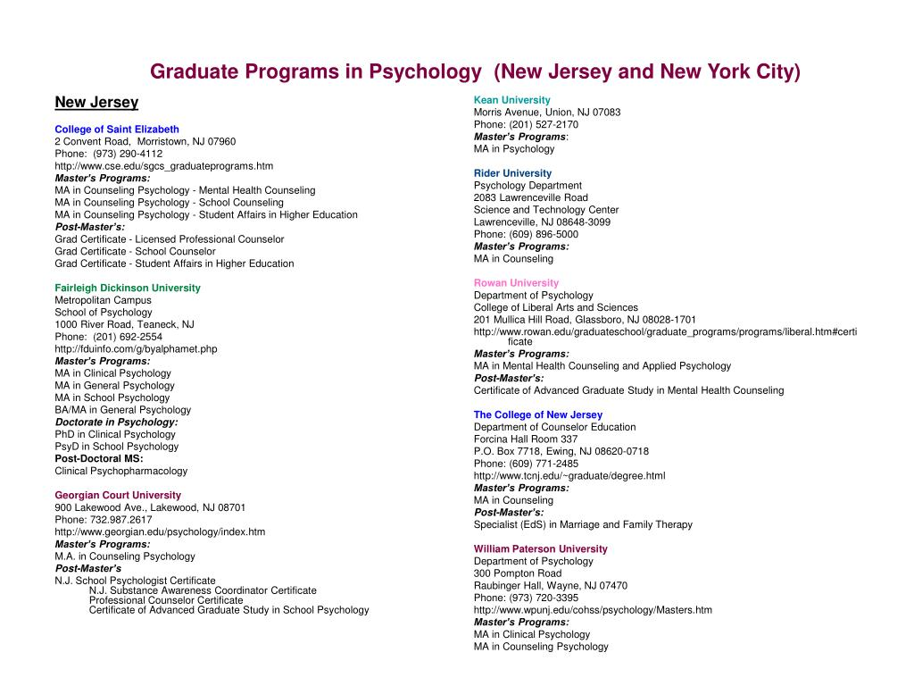 graduate programs in psychology new jersey and new york city
