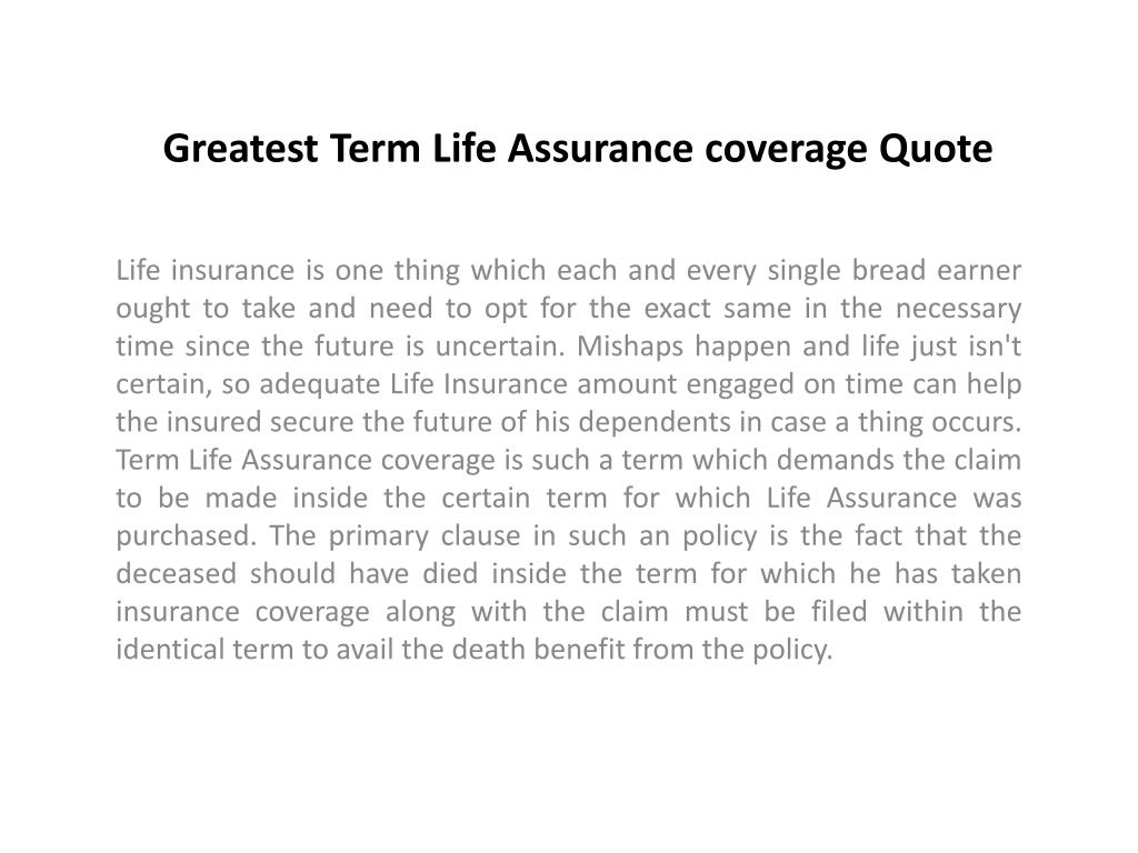 greatest term life assurance coverage quote l.