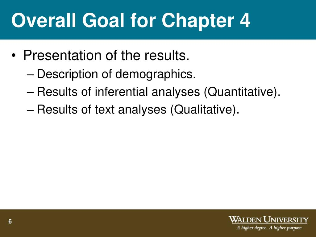 Overall Goal for Chapter 4