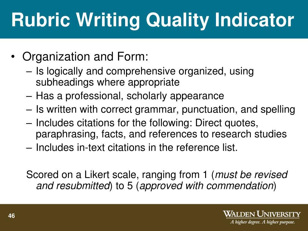 Rubric Writing Quality Indicator