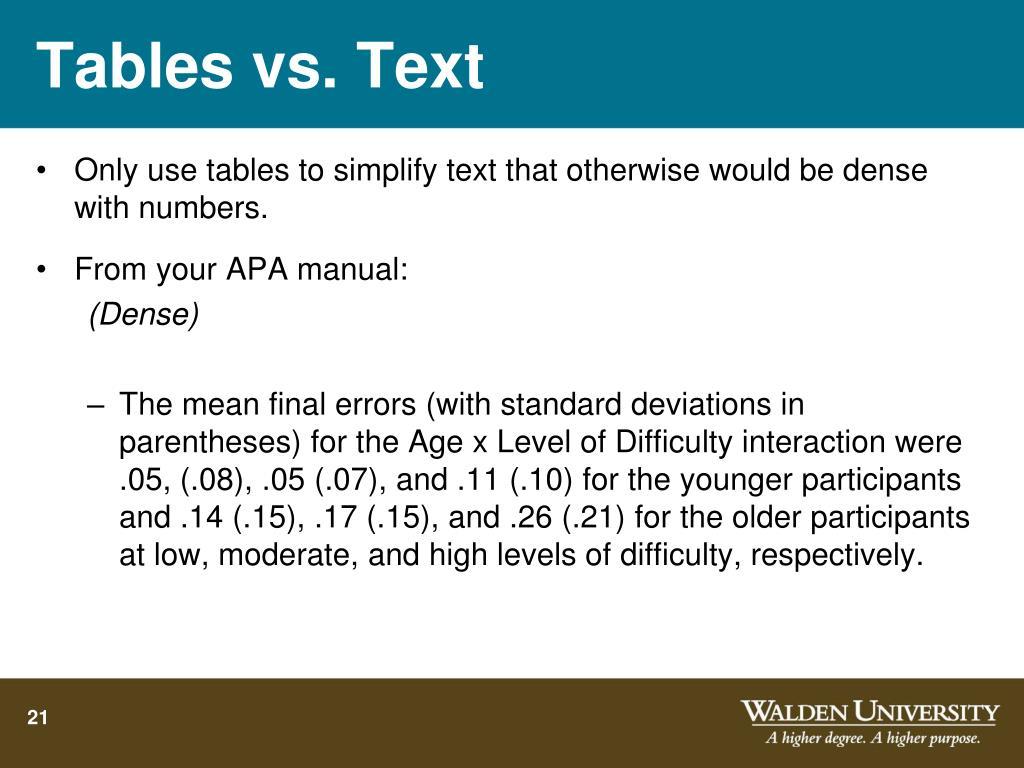 Tables vs. Text