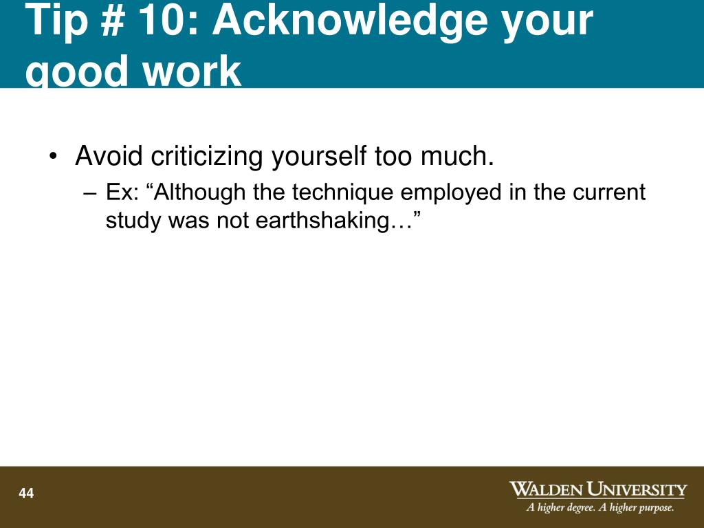 Tip # 10: Acknowledge your good work