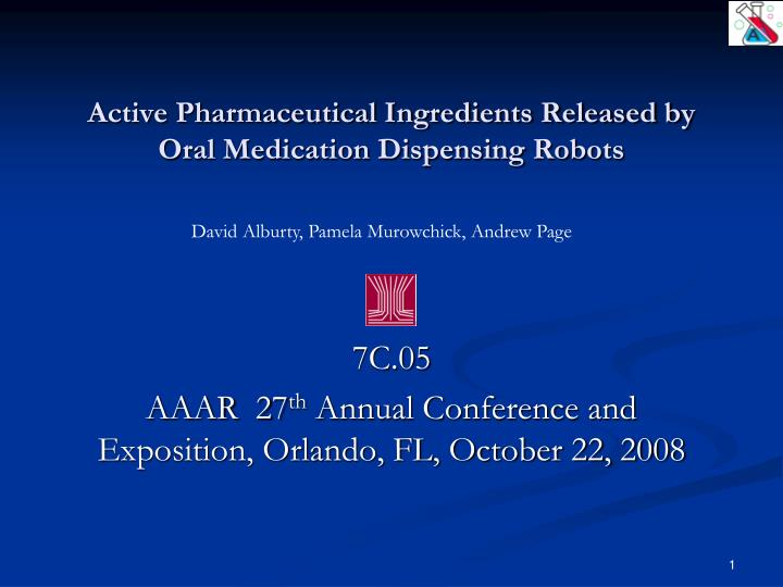 active pharmaceutical ingredients released by oral medication dispensing robots n.