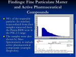 findings fine particulate matter and active pharmaceutical compounds
