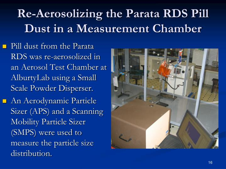Re-Aerosolizing the Parata RDS Pill Dust in a Measurement Chamber