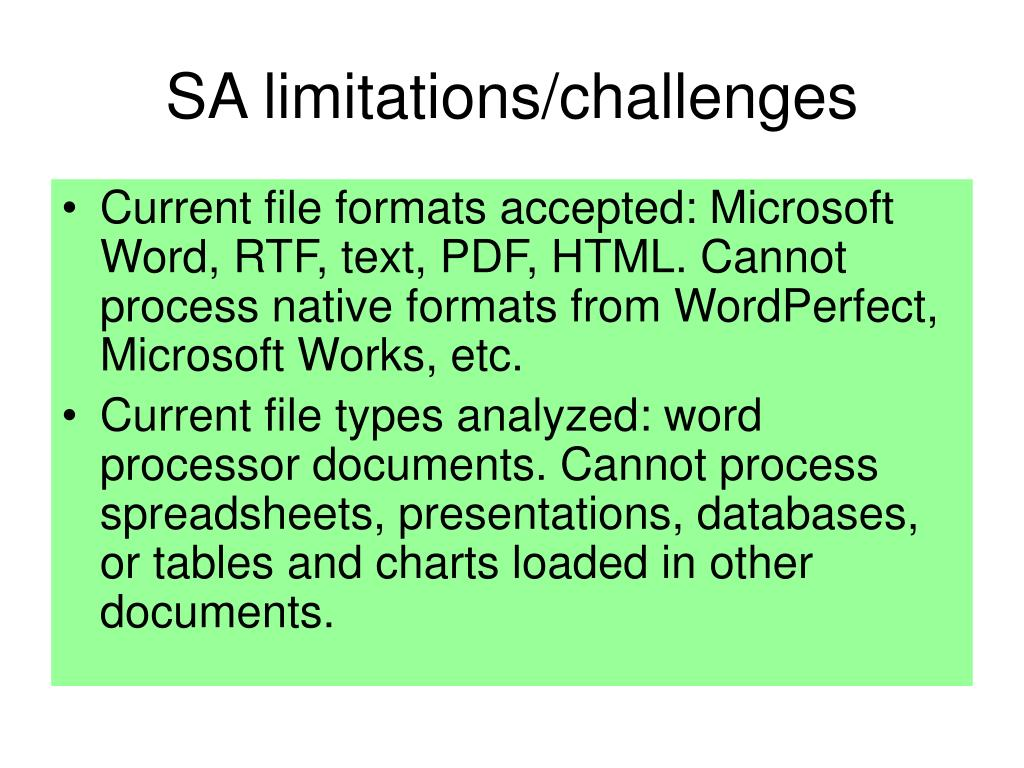 SA limitations/challenges