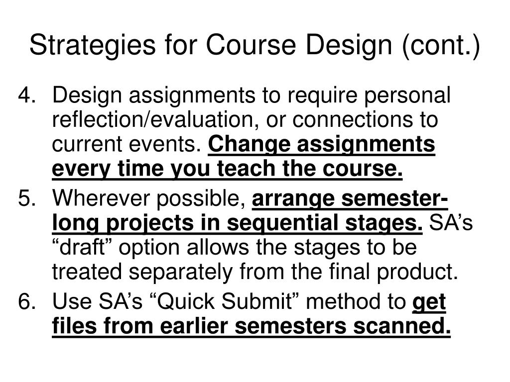 Strategies for Course Design (cont.)