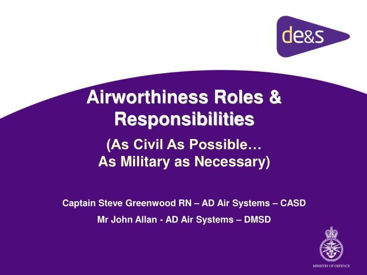 Airworthiness roles responsibilities