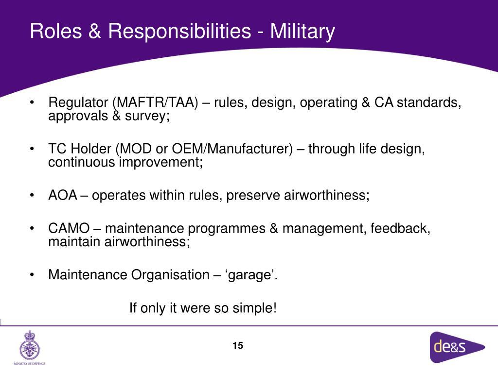 Roles & Responsibilities - Military