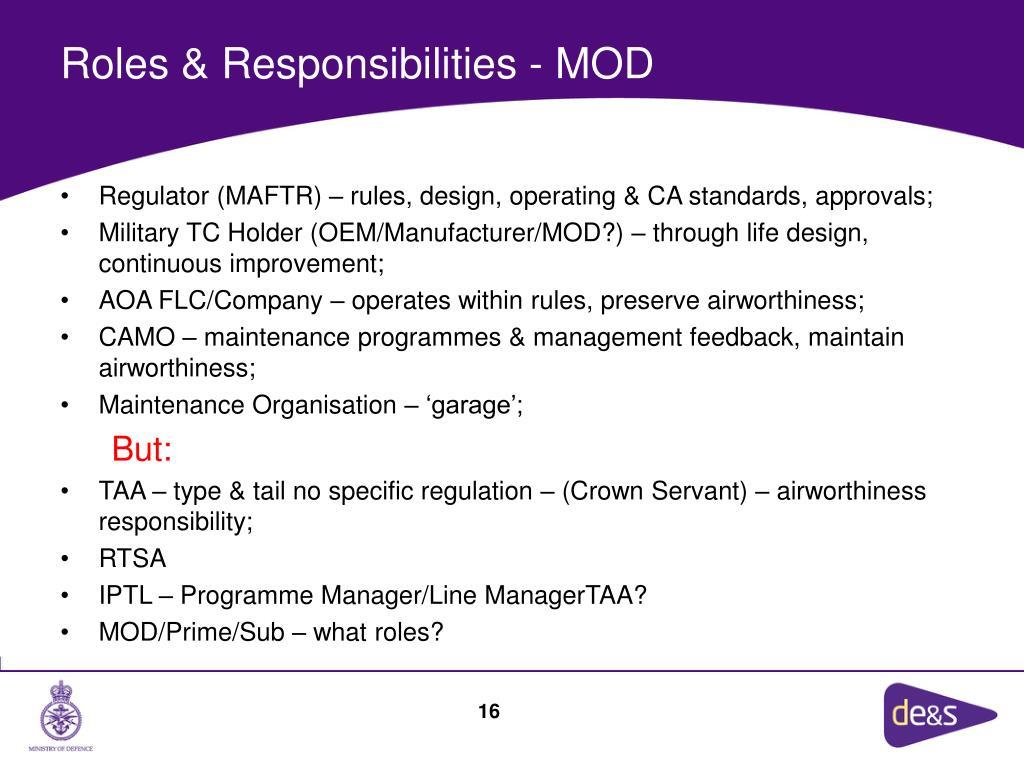 Roles & Responsibilities - MOD