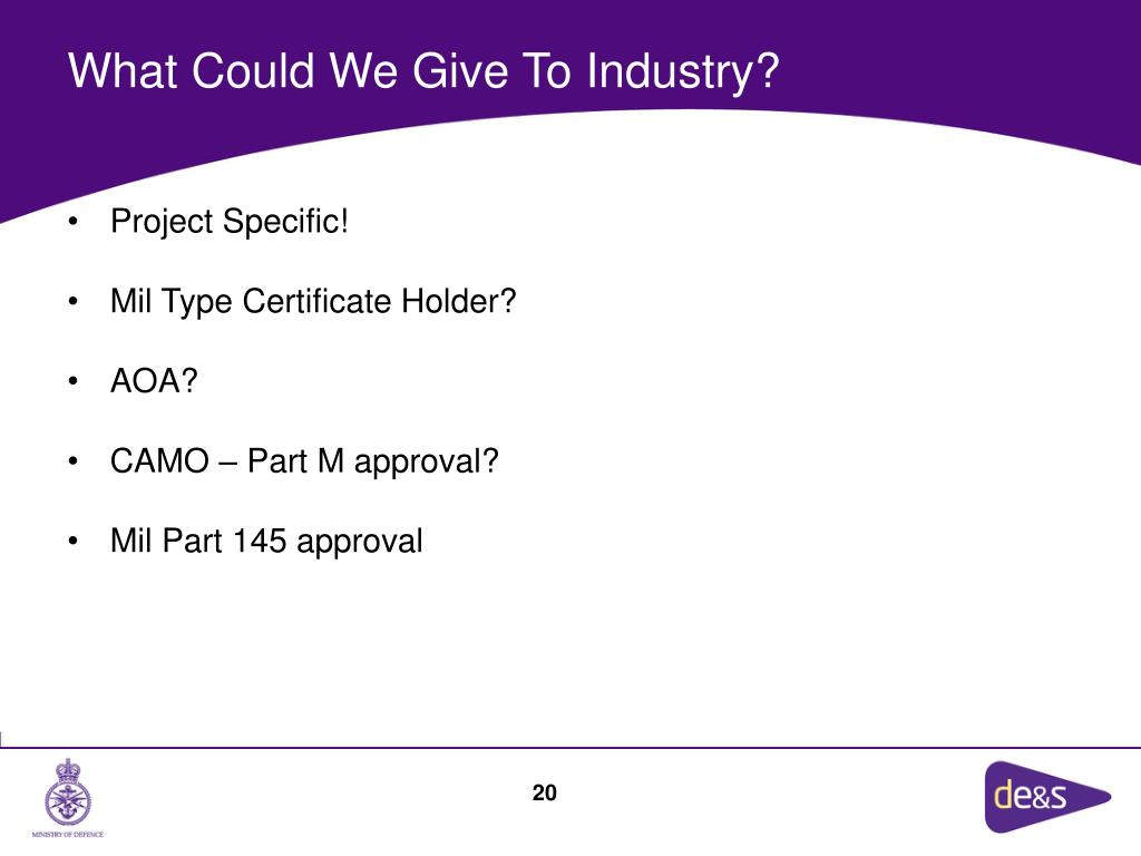 What Could We Give To Industry?