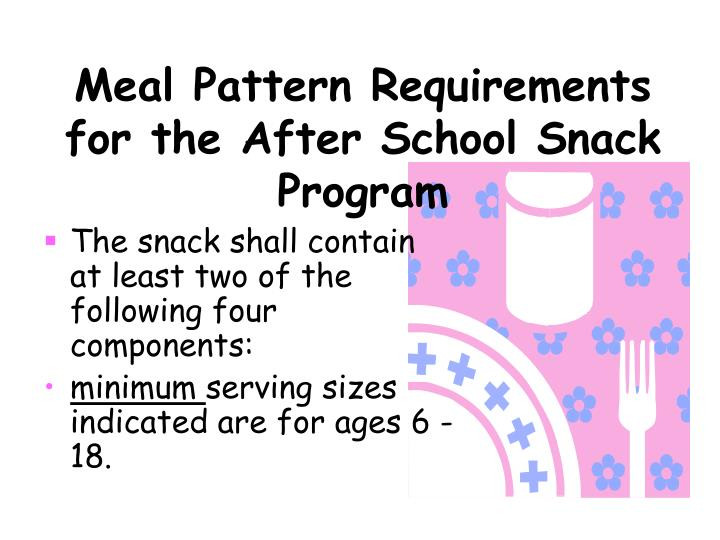 Meal pattern requirements for the after school snack program