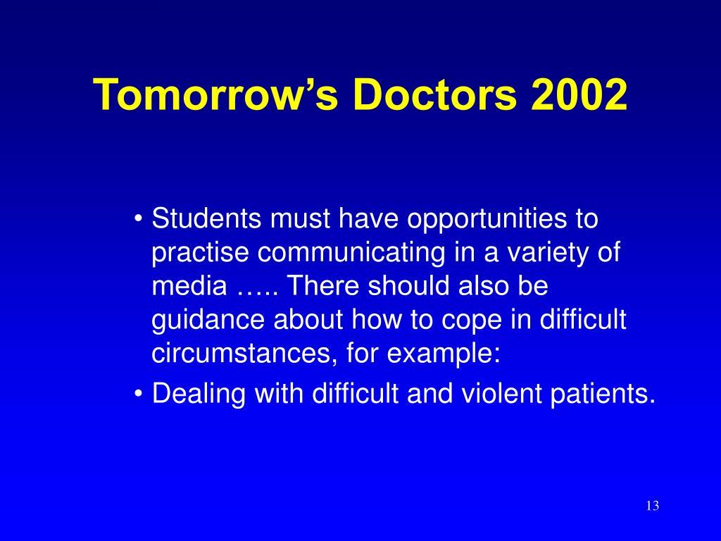 Tomorrow's Doctors 2002