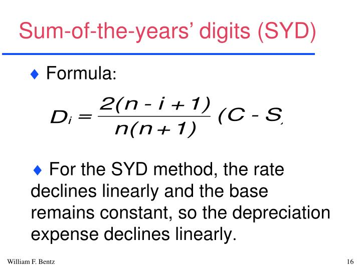 Sum-of-the-years' digits (SYD)