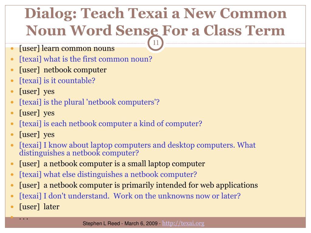 Dialog: Teach Texai a New Common Noun Word Sense For a Class Term