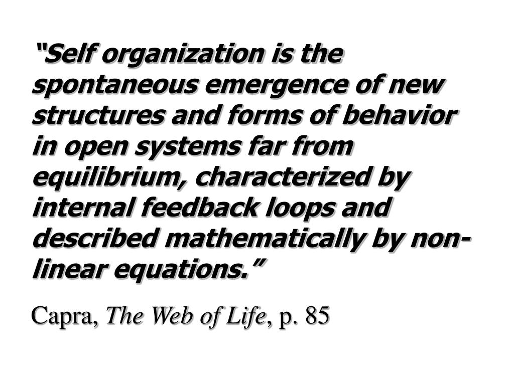 """Self organization is the spontaneous emergence of new structures and forms of behavior in open systems far from equilibrium, characterized by internal feedback loops and described mathematically by non-linear equations."""