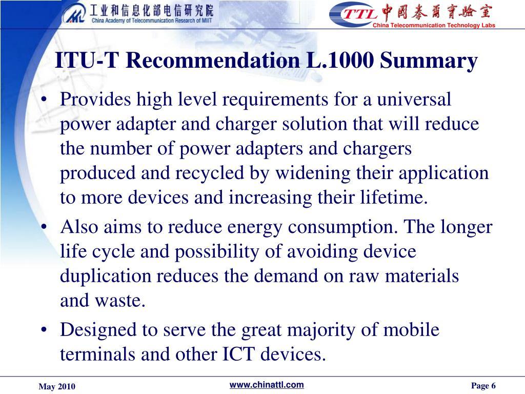 ITU-T Recommendation L.1000 Summary