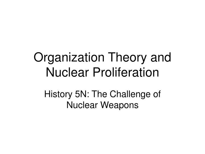 organization theory and nuclear proliferation n.