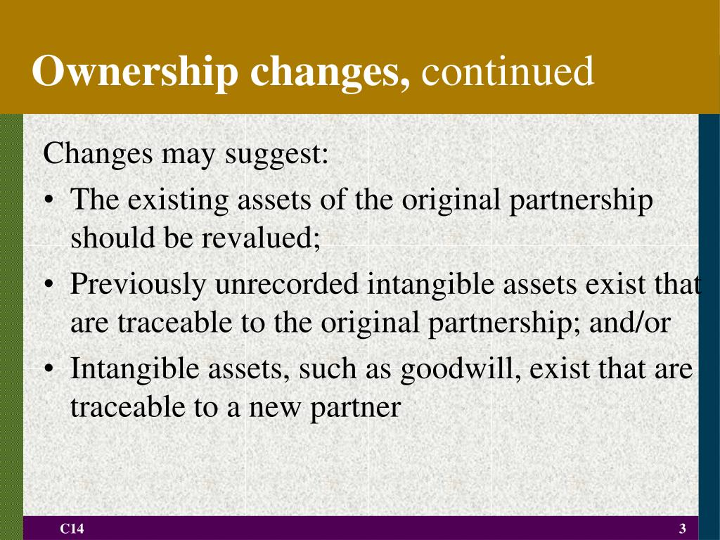 Ownership changes,