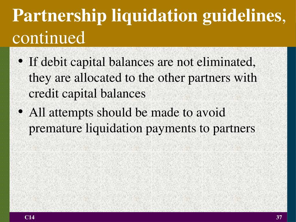 Partnership liquidation guidelines