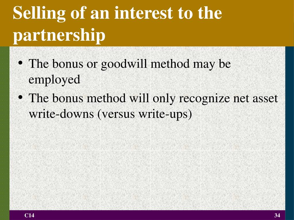 Selling of an interest to the partnership