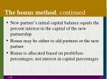 the bonus method continued