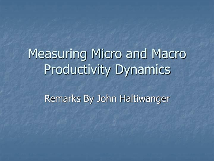 measuring micro and macro productivity dynamics n.