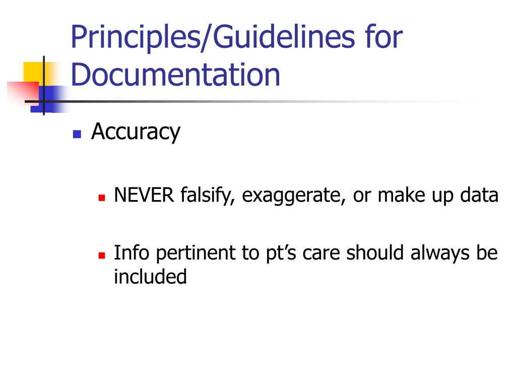 Principles/Guidelines for Documentation