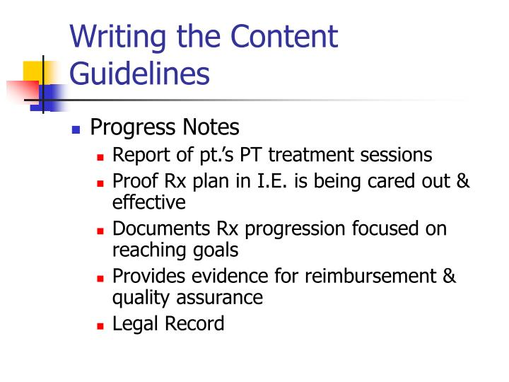 Writing the content guidelines