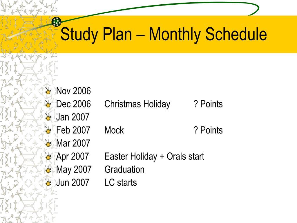Study Plan – Monthly