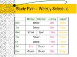 study plan weekly schedule