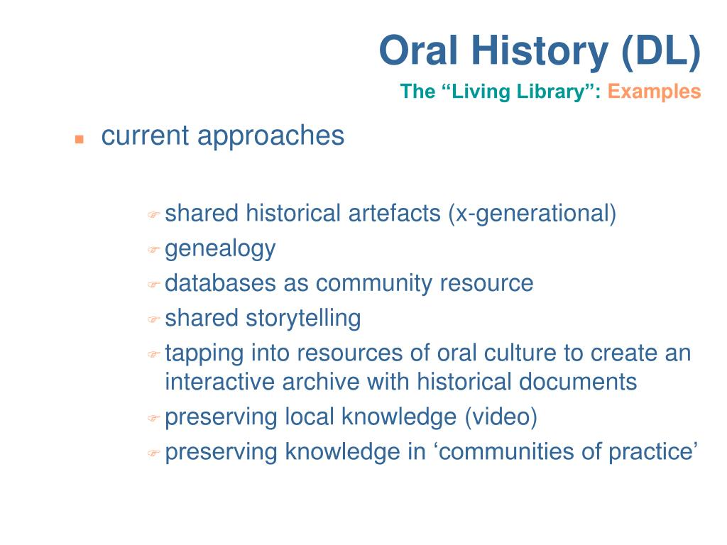 interactive oral on history of the