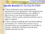 specific reasons for choosing the fjed2