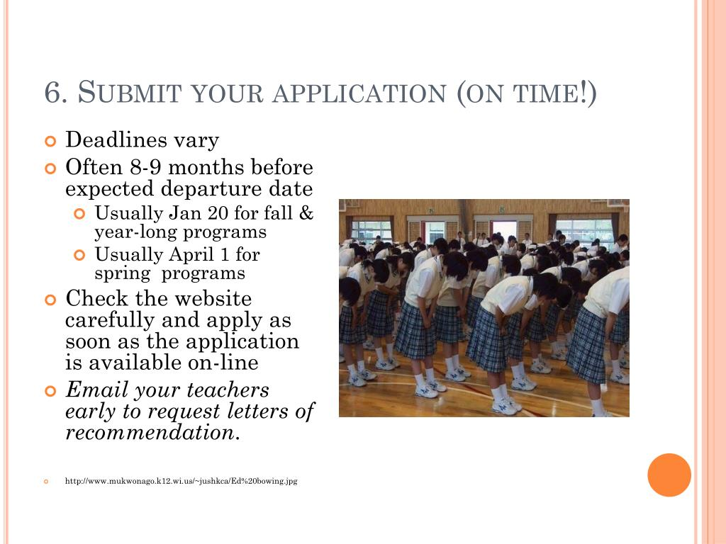 6. Submit your application (on time!)