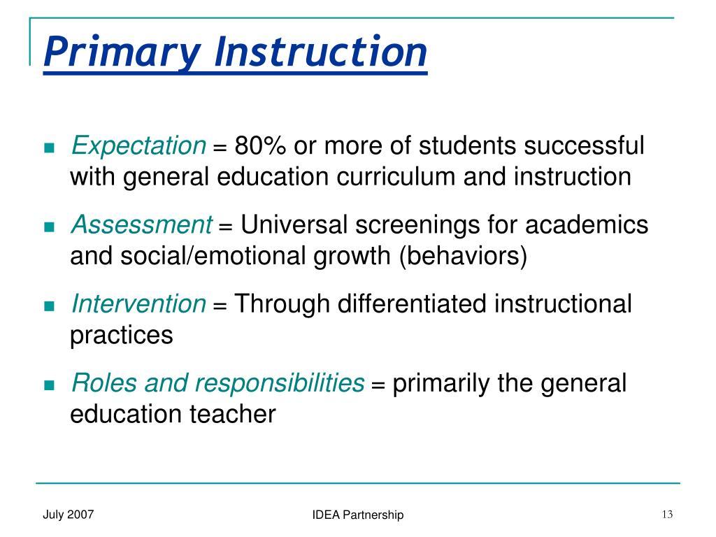 Primary Instruction
